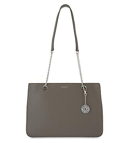 Dkny Bryant Park Large Leather Shoulder Bag In Grey