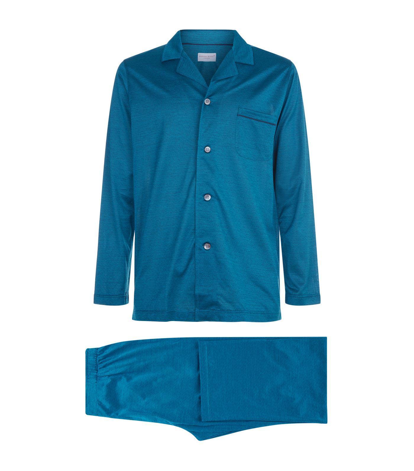 Derek Rose Cotton Pyjama Set In Green