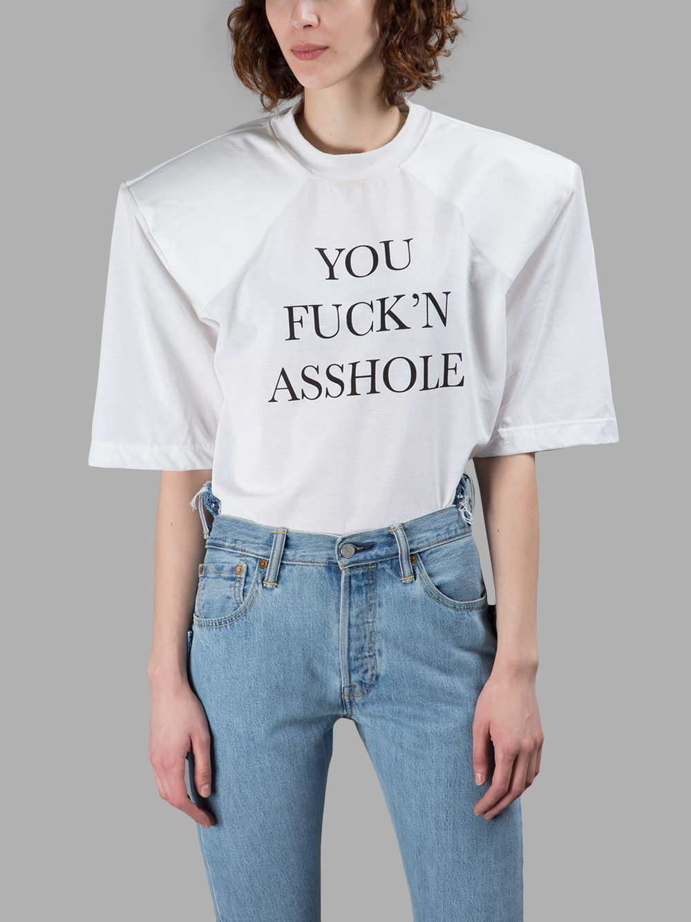 d73cdc7c Vetements White 'You Fuck'N Asshole' Football Shoulder T-Shirt ...