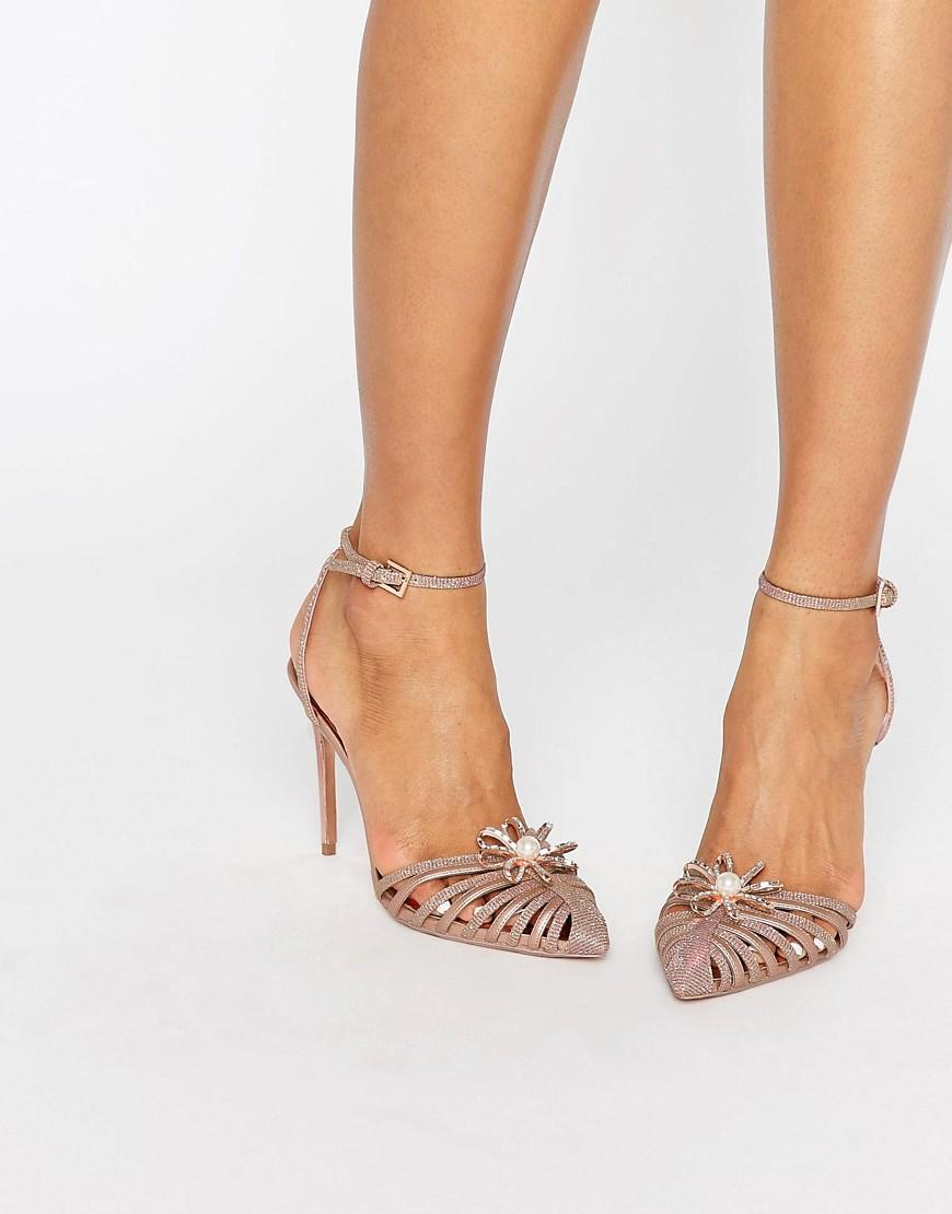 58eecb3b8 Ted Baker Zhine Rose Gold Embellished Strappy Heeled Shoes - Gold ...
