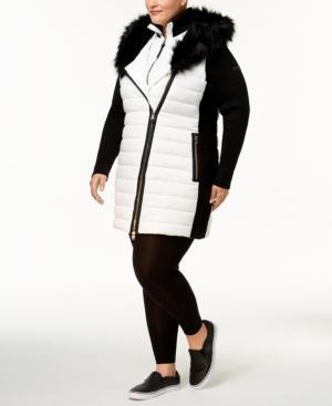 3a84396380d Calvin Klein Performance Plus Size Faux-Fur Trimmed Coat In Cloud ...
