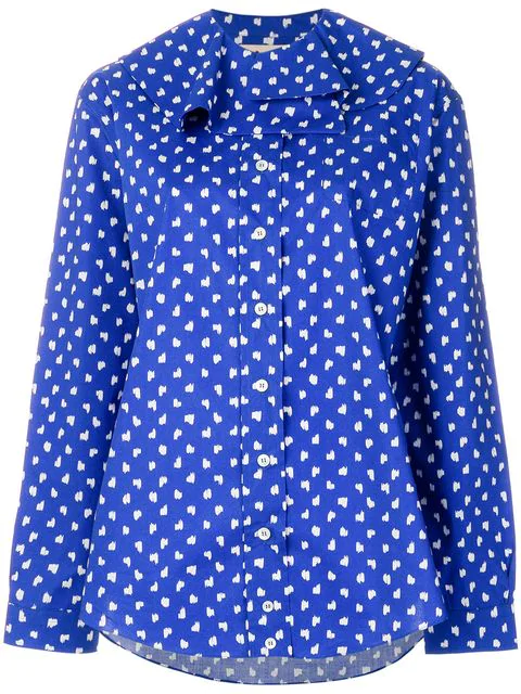 Marni Ruffled-Collar Fleck-Print Cotton Shirt In Blue