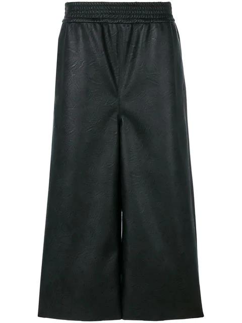 Stella Mccartney Wide-Leg Cropped Faux-Leather Trousers In Black
