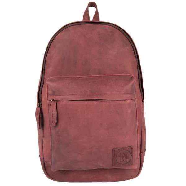Mahi Leather Leather Classic Backpack Rucksack In Vintage Maroon