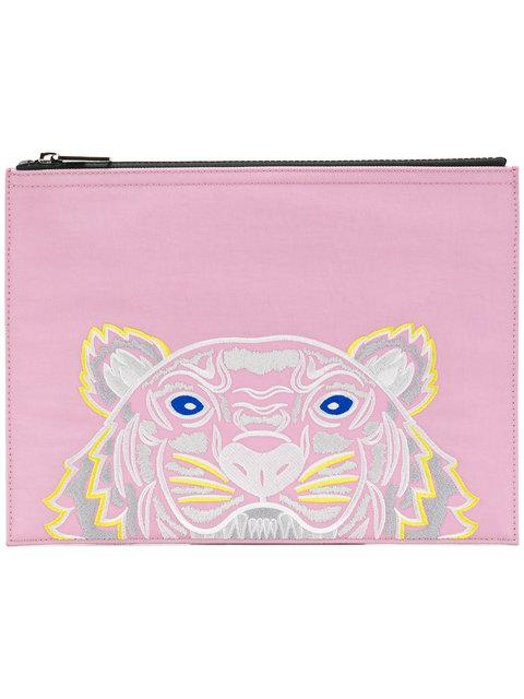 ab0a0b45544 Kenzo Kanvas Tiger Embroidered A4 Pouch - Pink In Pink & Purple ...