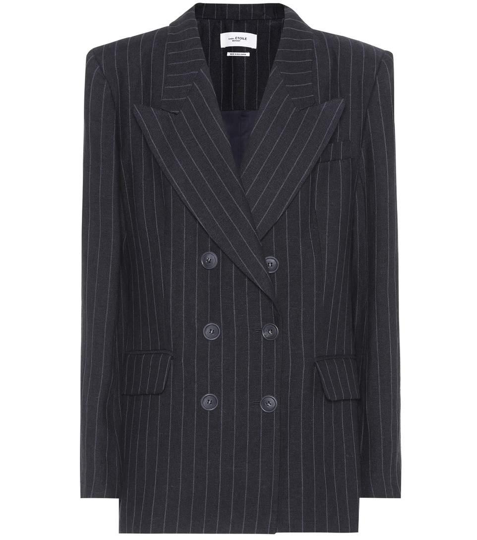 758710d9a39 Etoile Isabel Marant Ianey Pinstriped Linen Double-Breasted Blazer -  Midnight In Blue