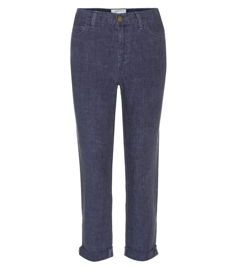 Current Elliott Fling Linen Trousers In Blue