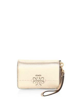 1f05903a7f Tory Burch Mcgraw Metallic Leather Bi-Fold Wallet In Gold   ModeSens