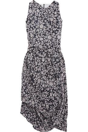4b136ae5413 Vivienne Westwood Anglomania Woman Asymmetric Gathered Floral-Print Cotton  Midi Dress Navy