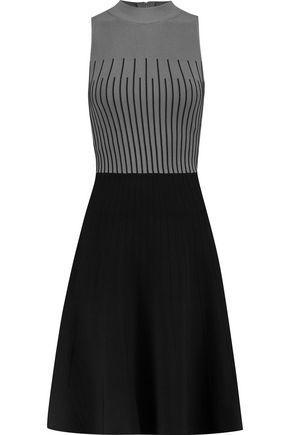 Milly Woman Jacquard-Knit Mini Dress Gray