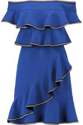 Rebecca Vallance Woman Off-The-Shoulder Ruffled Crepe Mini Dress Blue