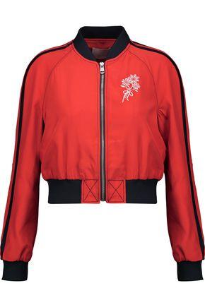Cinq À Sept Woman Emerson Cropped Embroidered Silk-Satin Bomber Jacket Red