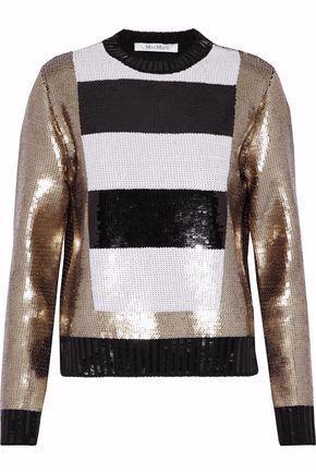 Max Mara Woman Sequined Virgin Wool Sweater Bronze