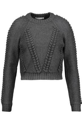 Milly Woman Cropped Cable-Knit Wool-CloquÉ Sweater Gray