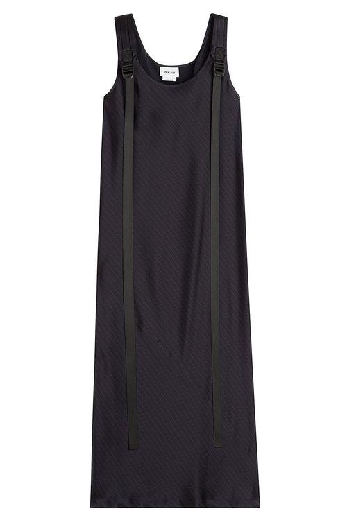 Dkny Pinstriped Midi Dress In Blue