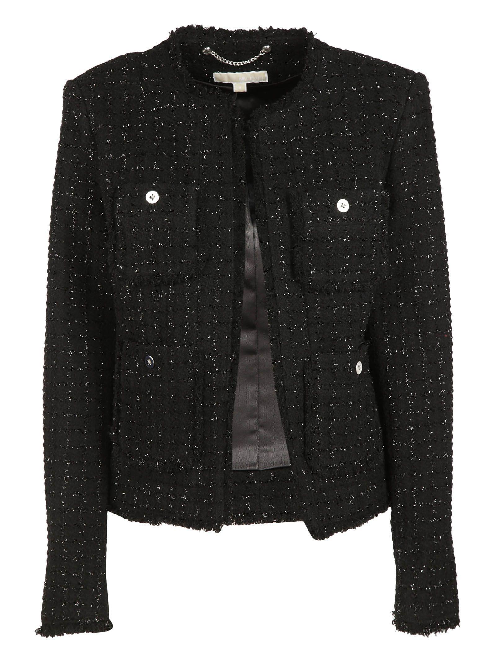 Michael Kors Tweed Jacket In Black/Silver