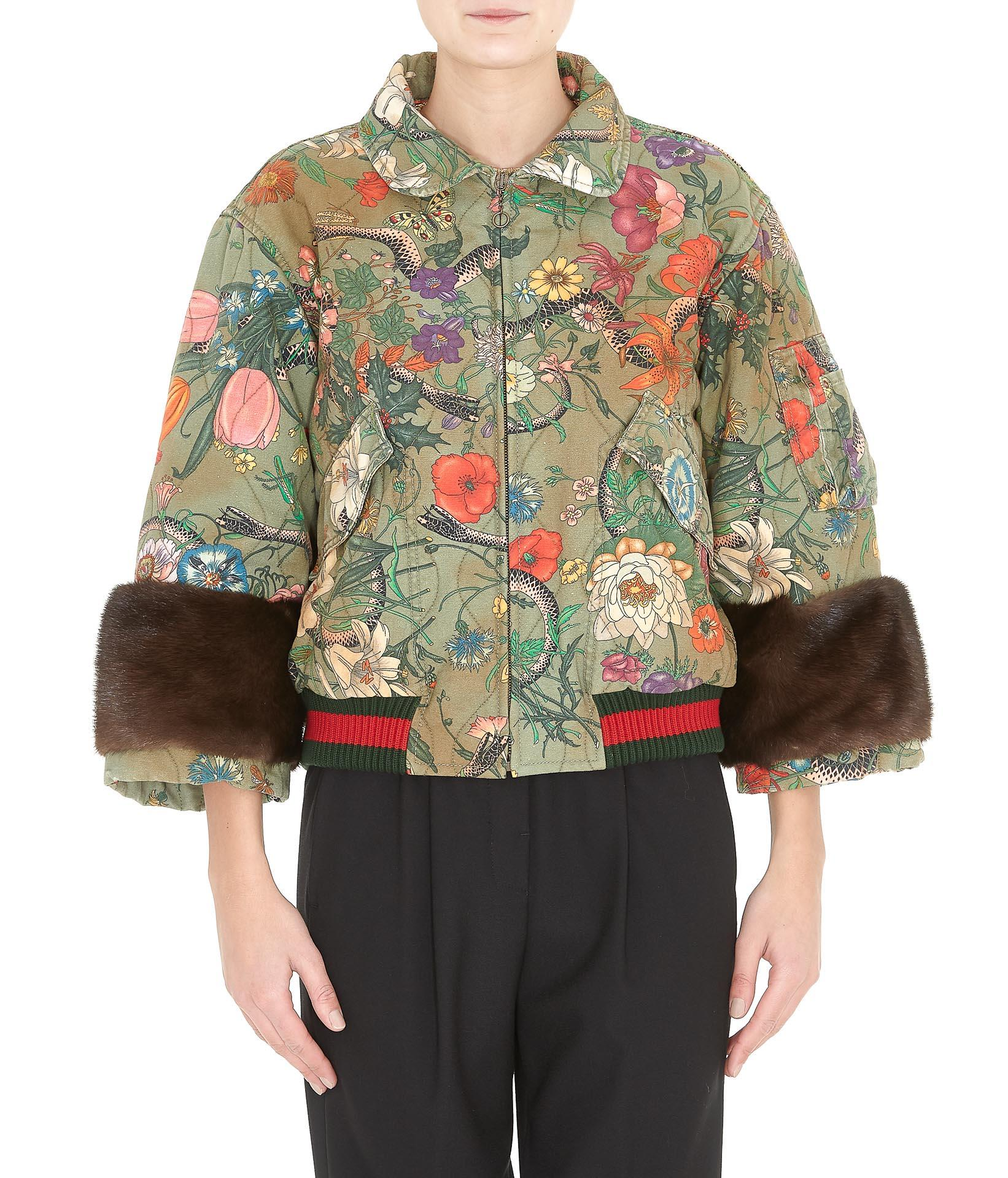 041c5f8cd97 Gucci Flora Snake Print Fur Detail Bomber Jacket In Military Brown  Multicolor
