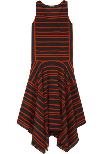 Dkny Striped Silk Crepe De Chine Midi Dress In Burgundy