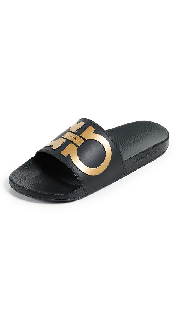 c4b9905d381b59 Salvatore Ferragamo Men's Groove 2 Original Double Gancini Slide Sandals In  Black/Gold