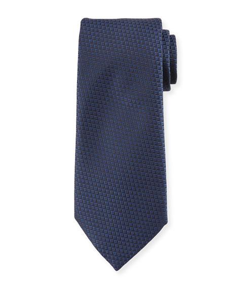 Ermenegildo Zegna Diamond Weave Silk Tie In Blue