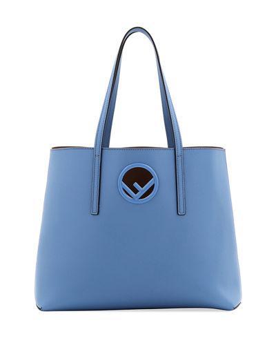 5052ce526f Fendi F Logo Calf Leather Shopping Tote Bag In Blue | ModeSens