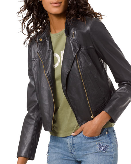 outlet on sale price reduced classic shoes Leather Moto Jacket in Black/ Gold