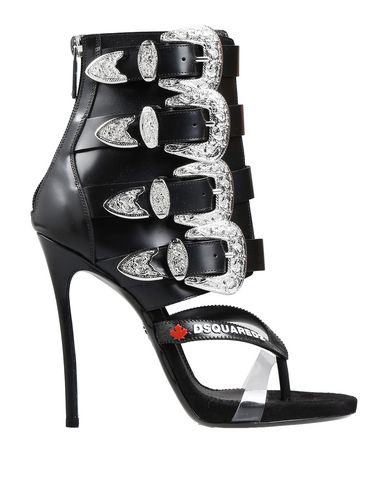 Dsquared2 120Mm Multi Buckle Leather Sandal Boots In Black