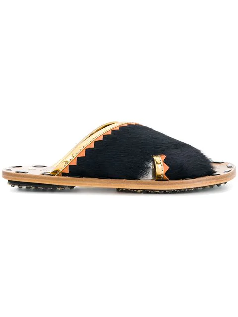 Marni Black Haircalf And Laminated Leather Crossover Slide Sandals