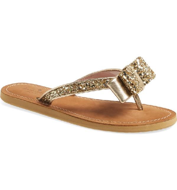 Kate Spade Icarda Glitter Bow Flat Thong Sandal, Gold