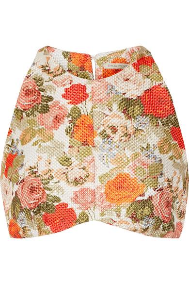 Emilia Wickstead Joanna Floral-print Cropped Basketweave Top In Orange Multi