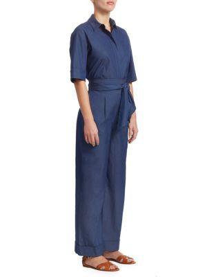 3c511be7699 Loro Piana Button-Down Wide-Leg Denim Jumpsuit In Insignia Blue ...