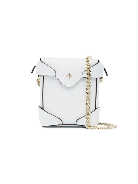 Manu Atelier Micro Pristine Embossed Leather Shoulder Bag In White