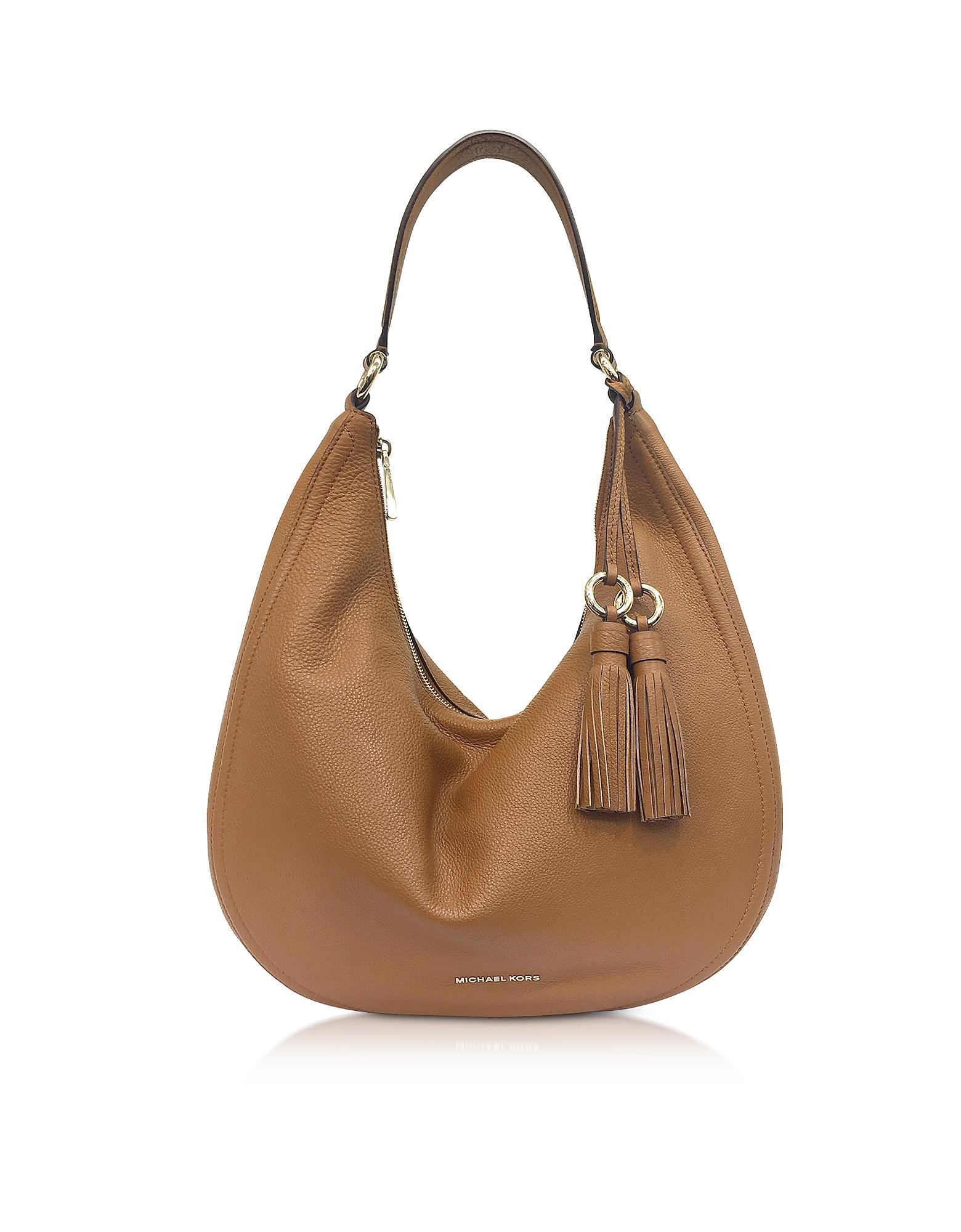 3e65602522da Michael Kors Lydia Acorn Pebbled Leather Hobo Bag In Brown | ModeSens