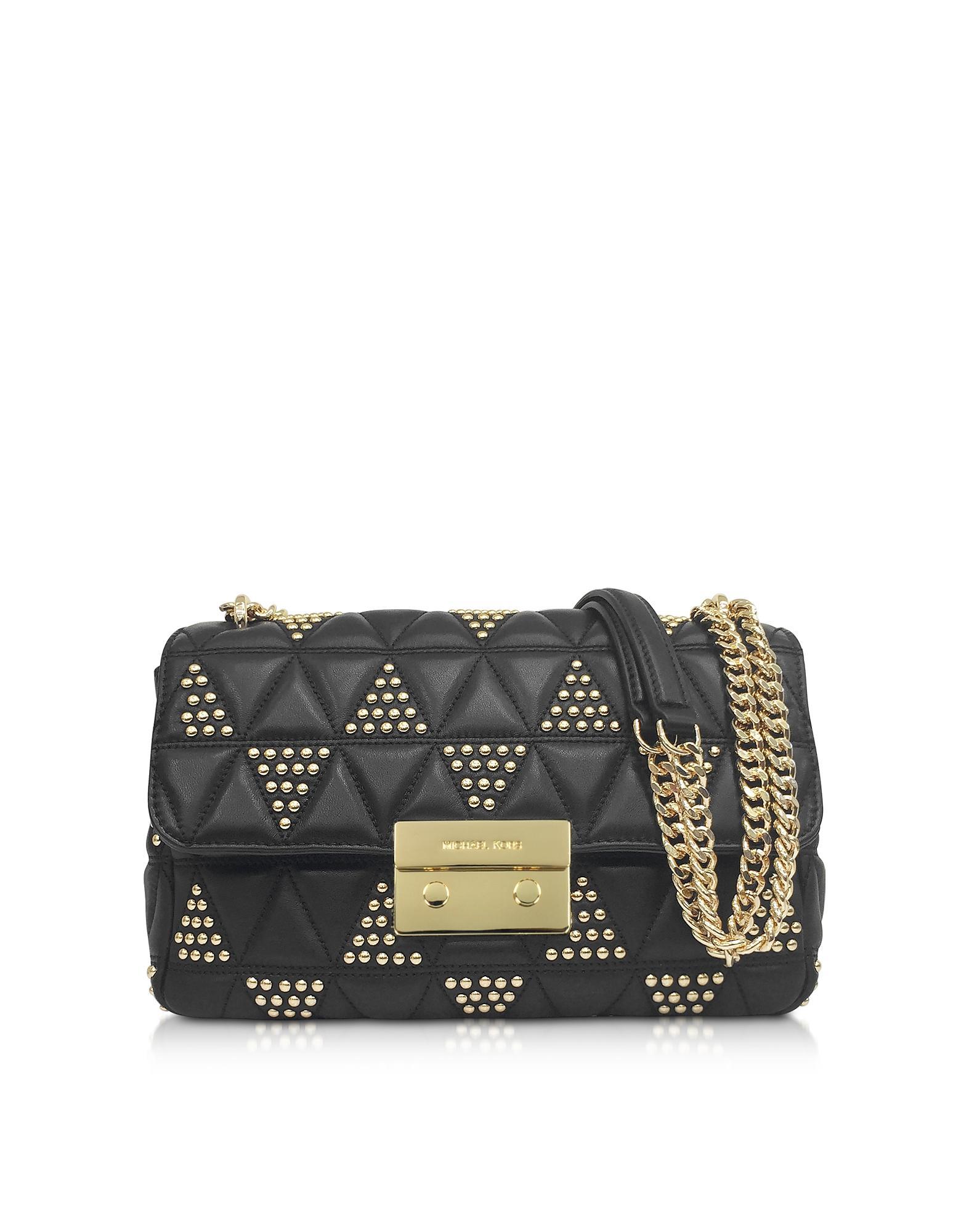 20b9c6401a14c3 Michael Kors Sloan Large Studded Leather Shoulder Bag In Black. FORZIERI