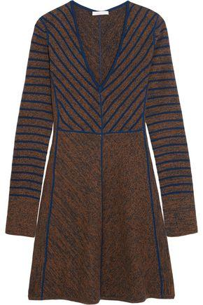 See By Chloé Flared Striped Wool Mini Dress In Brown