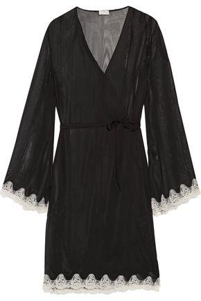 Cosabella Elegance Lace-trimmed Chiffon Robe In Black