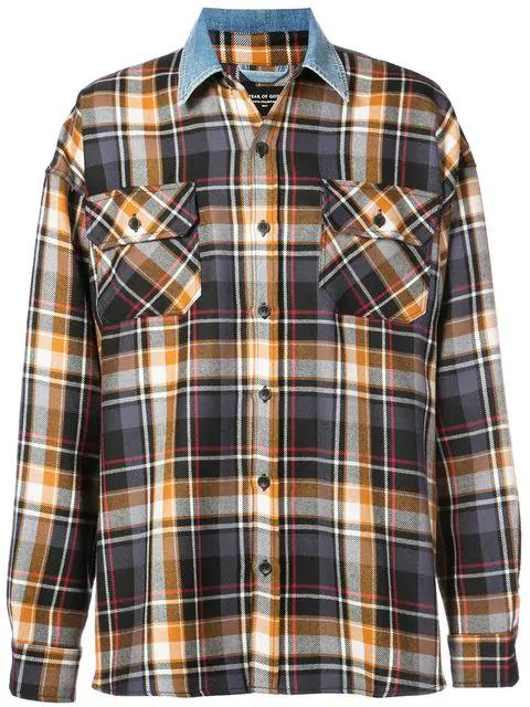 ca80e976a6 Fear Of God Purple Oversized Plaid Denim Collar Flannel Shirt