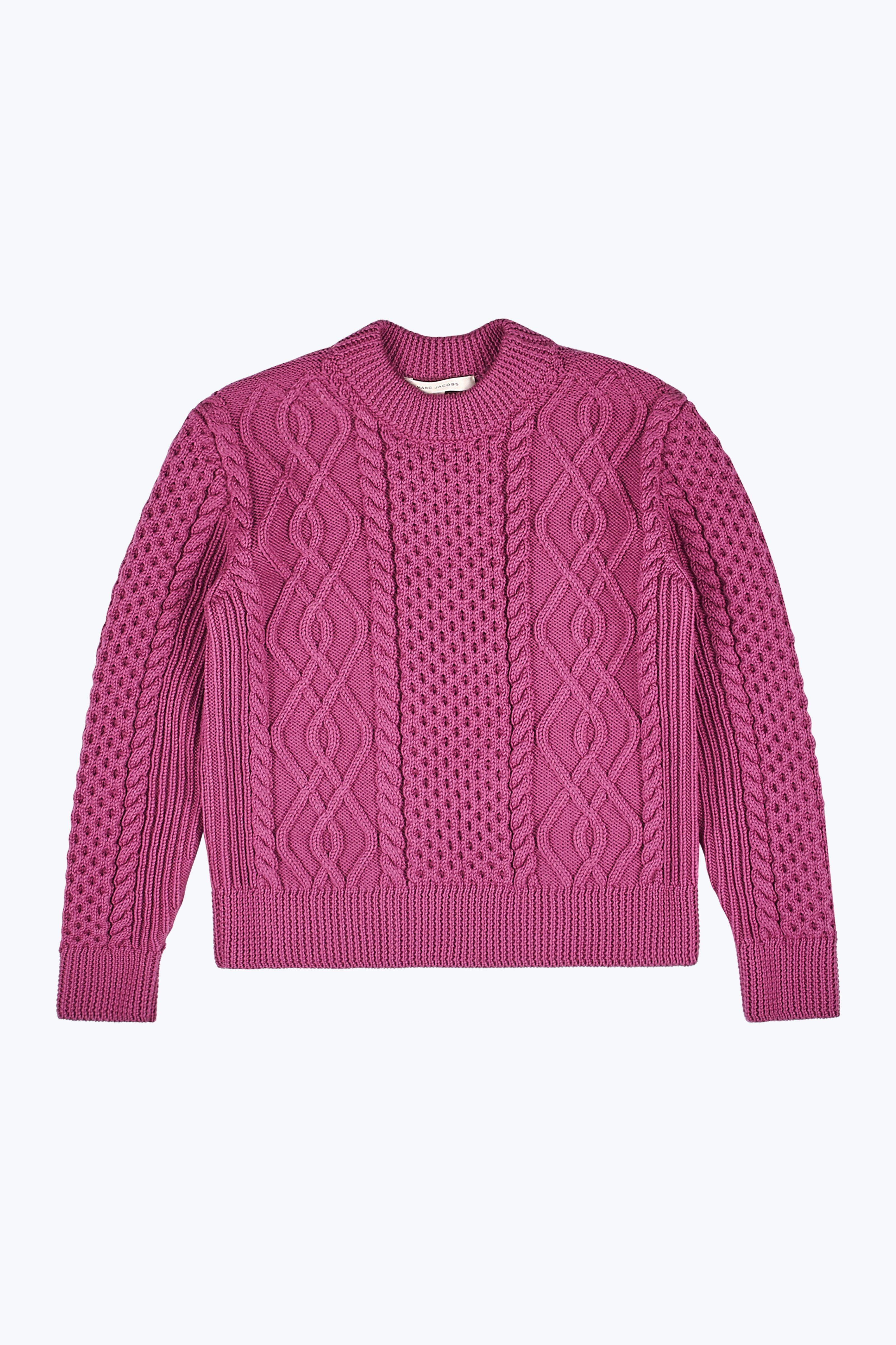 Marc Jacobs Merino Wool Cable Knit Sweater In Pink