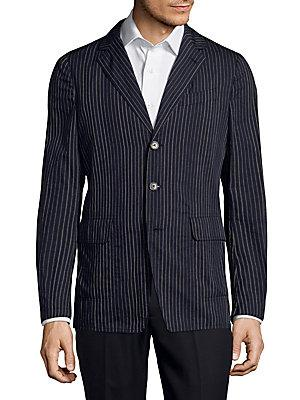 Dries Van Noten Pinstripe Wool Jacket In Navy