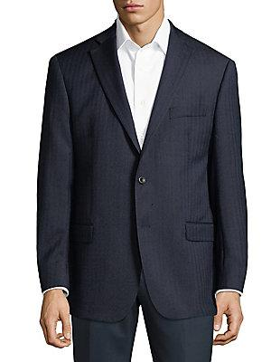 Michael Kors Stripe Wool Jacket In Blue
