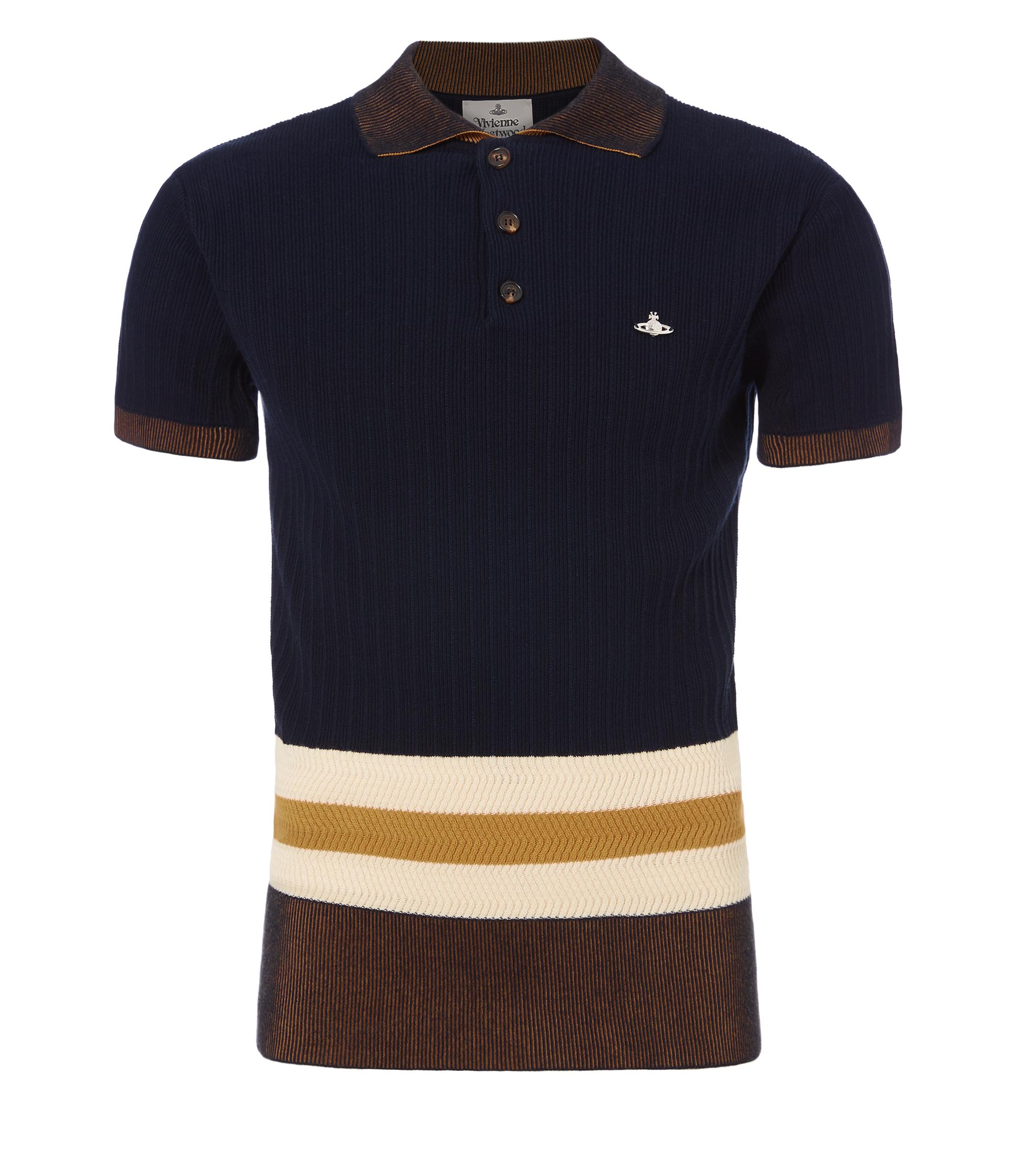 Vivienne Westwood Ribbed Colour Block Polo Shirt In Navy