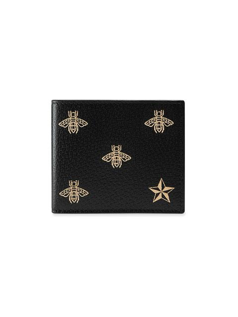 Gucci Bee-Print Bi-Fold Grained-Leather Wallet In Black