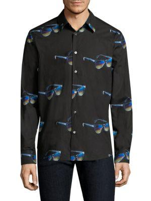 Paul Smith Sunglasses Print Cotton Shirt In Black