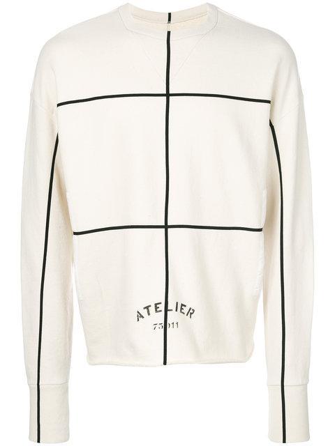 Maison Margiela Raw Hedges Atelier Cotton Sweatshirt In Neutrals