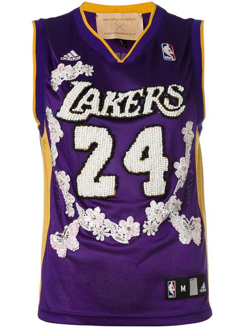 Night Market Lakers Embroidered Nba Tank In Purple