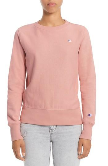 2bc3c1cca Champion Reverse Weave French Terry Crewneck Sweatshirt In Pink Bow ...