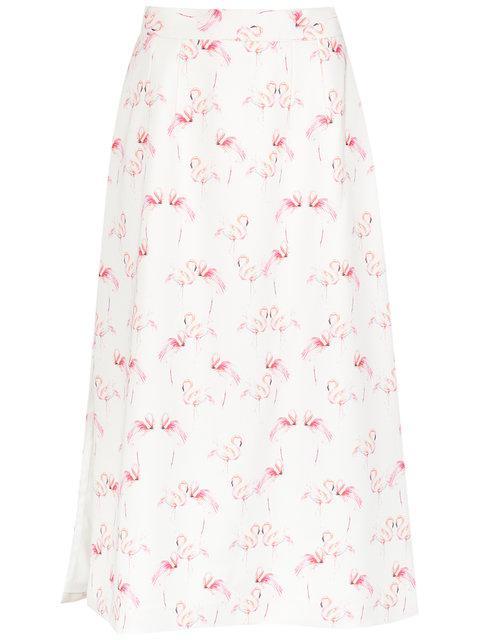 Olympiah Flamingo Print Straight Skirt In White