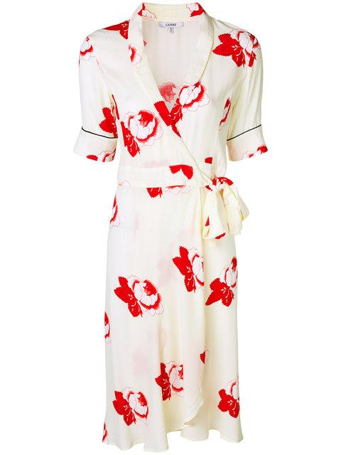 f91246b5d242 Ganni Floral-Print Crepe De Chine Wrap Dress In White | ModeSens