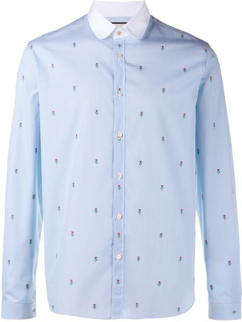 Gucci Slim-Fit Penny-Collar Embroidered Striped Cotton Shirt In Rose