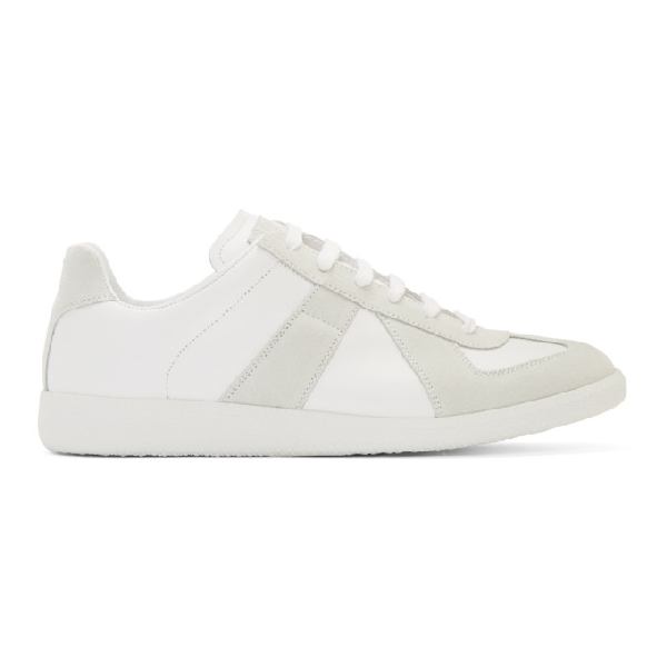 Maison Margiela White And Grey Replica Leather And Suede Sneakers In 101 Offwht